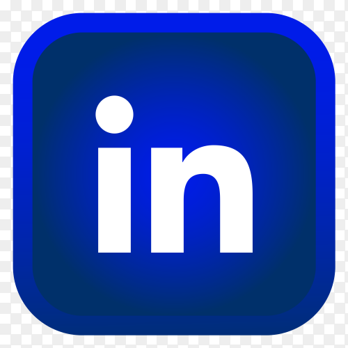Shiny square LinkedIn icon with gradient effect on transparent background PNG