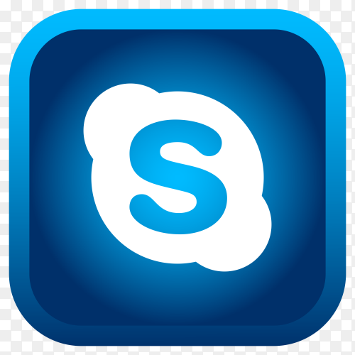 Shiny square Skype icon with gradient effect premium vector PNG