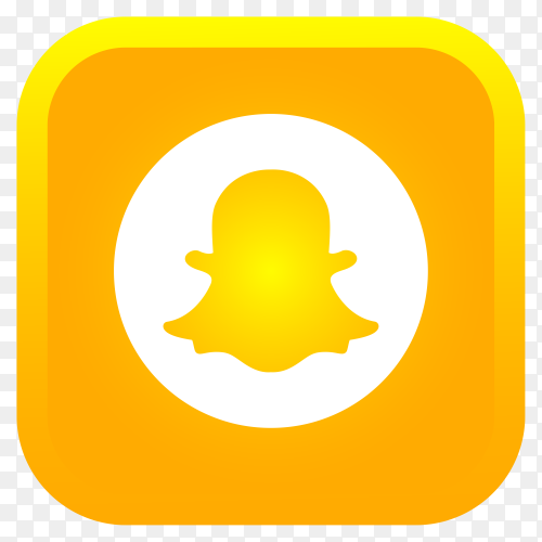 Shiny square Snapchat icon with gradient effect premium vector PNG