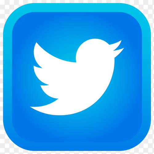 Shiny square Twitter icon with gradient effect on transparent background PNG