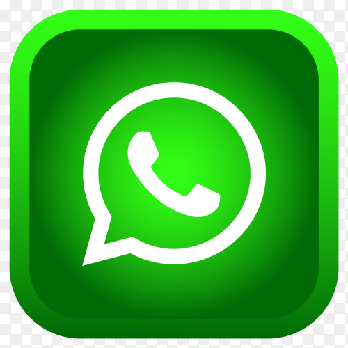Shiny square Whatsapp icon with gradient effect on transparent background PNG