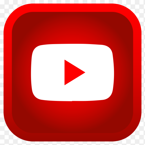Shiny square YouTube icon with gradient effect on transparent background PNG