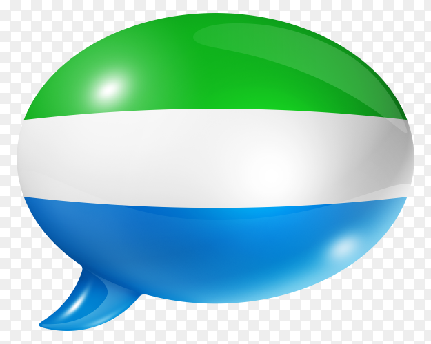 Sierra Leone flag shaped speech bubble on transparent PNG