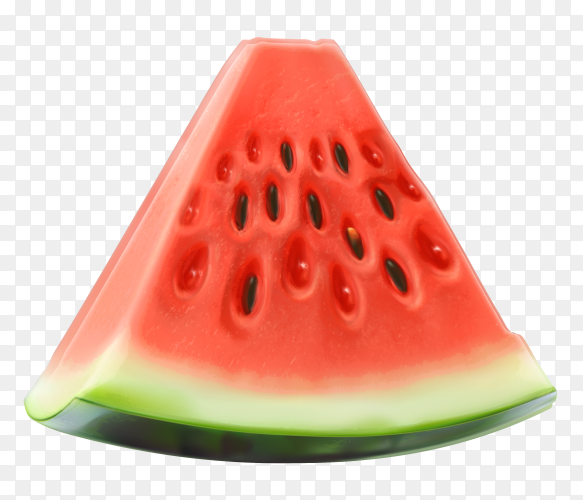 Sliced of watermelon isolated  on transparent background PNG