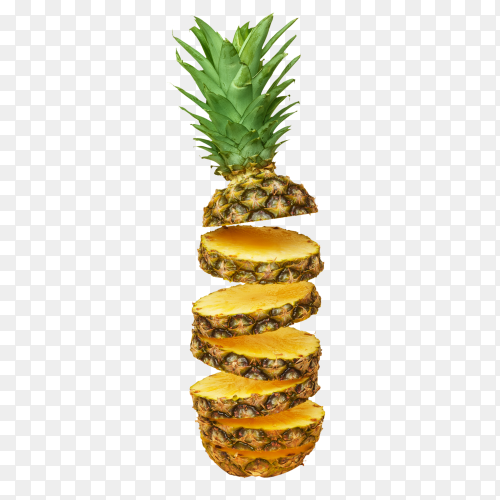 Sliced pineapple isolated  on transparent background PNG