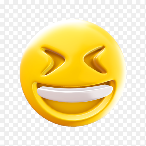 Smiling face with open mouth & closed eyes emoticon on transparent background PNG
