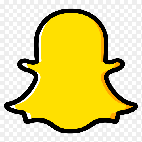 Snapchat social media design with yellow color on transparent background PNG