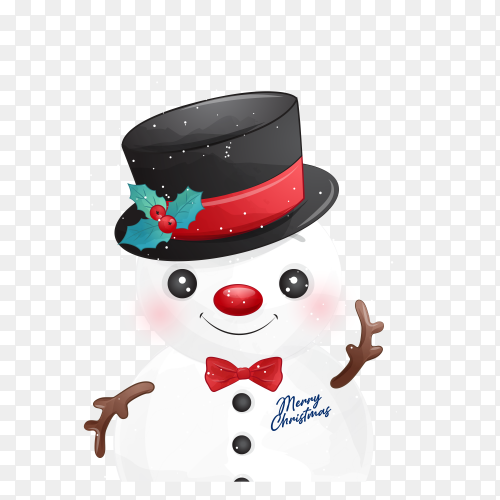 Snowman Illustration premium vector PNG