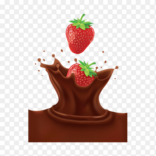 Strawberries falls in chocolate on transparent background PNG