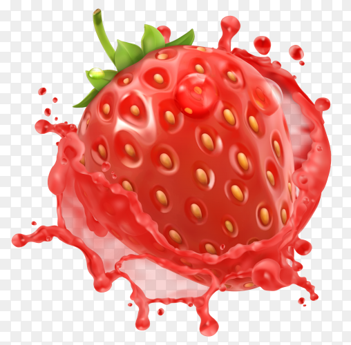 Strawberry with juice splash isolated on transparent background PNG