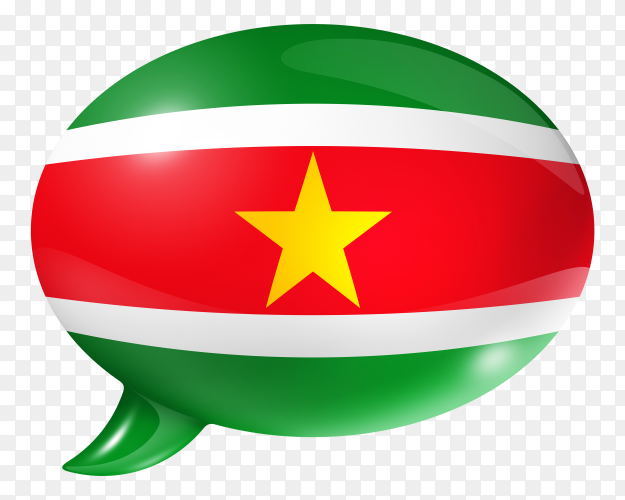 Suriname flag shaped speech bubble on transparent background PNG