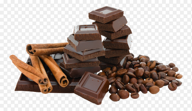 Sweet Chocolate and spices on transparent background PNG