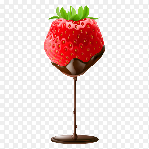 Sweet strawberry falls on Chocolate  on transparent background PNG