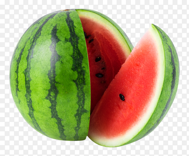 Sweet watermelon cut on transparent background PNG