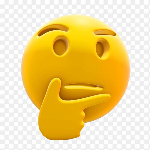 Thinking emoji premium vector PNG