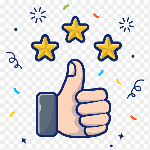 Thumbs up with golden stars illustration on transparent background PNG