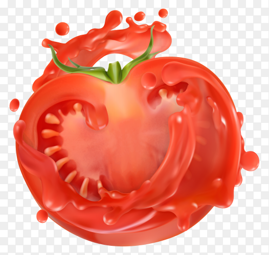 Tomato with juice splash isolated on transparent background PNG