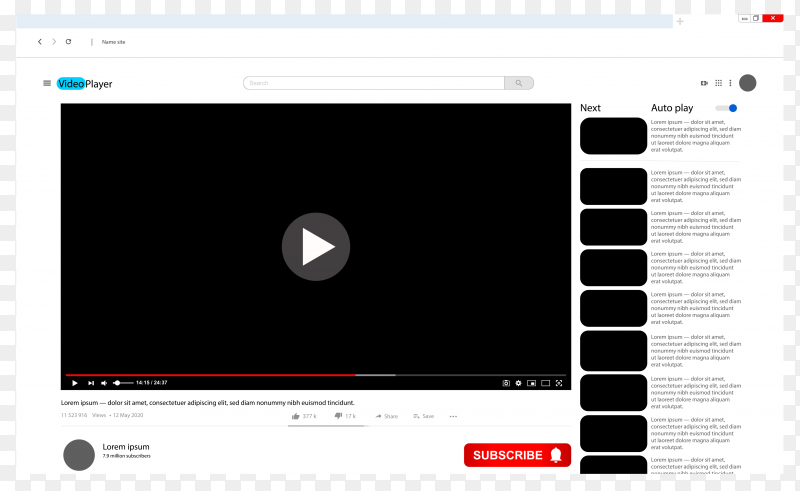 Video player interface, video player template for your site on transparent background PNG