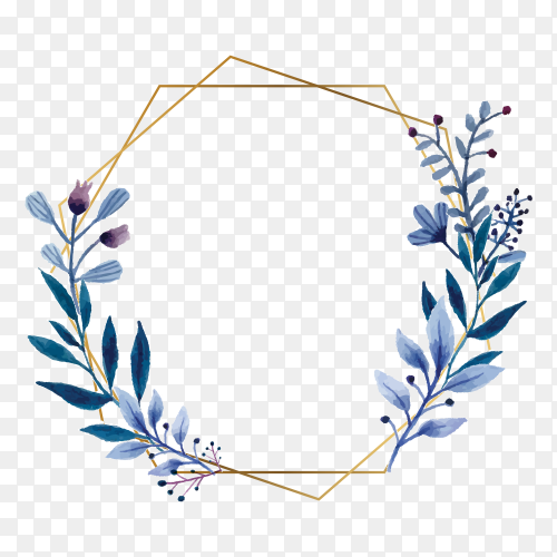 Watercolor floral frame with gold frame on transparent background PNG
