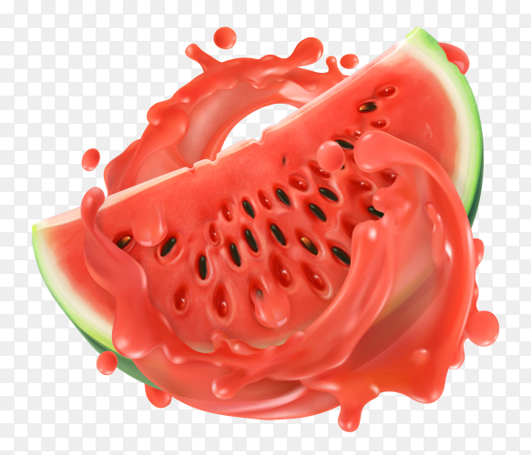 Watermelon juice. Fresh fruit on transparent background PNG