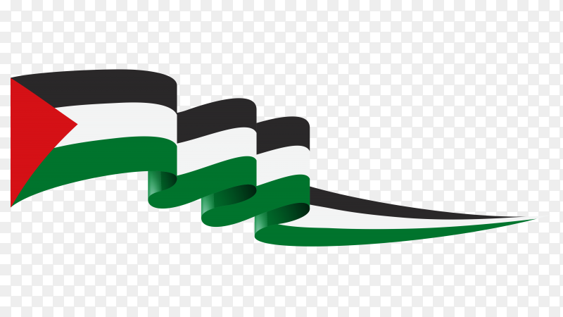 Waving flag of Palestine Clipart PNG