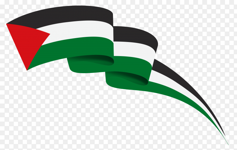 Waving flag of Palestine on transparent PNG