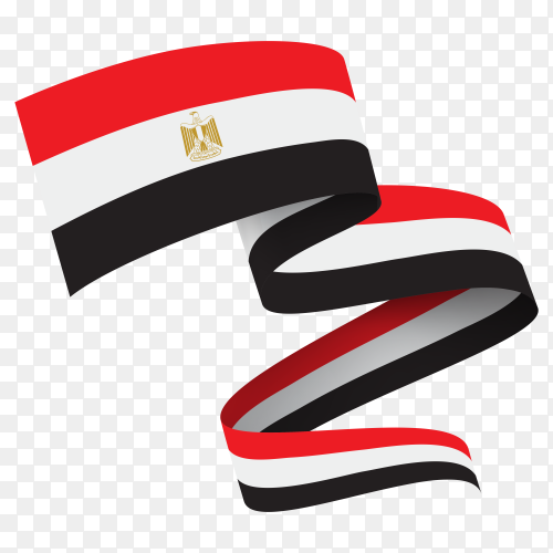 Waving ribbon egypt flag on transparent background PNG
