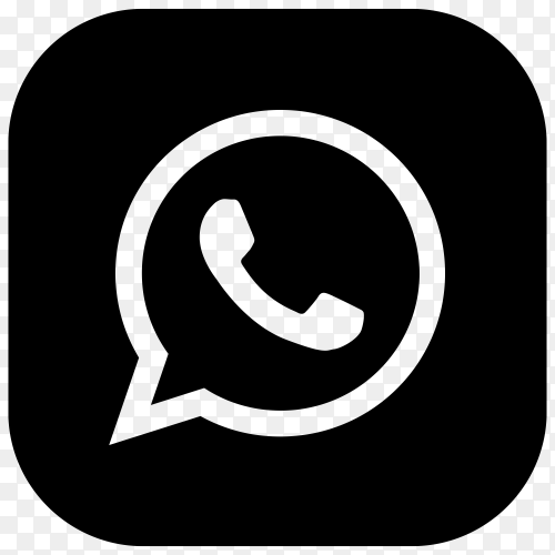 Whatsapp icon with black color on transparent background PNG