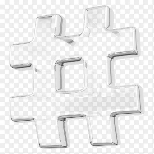 White hashtag design on transparent background PNG