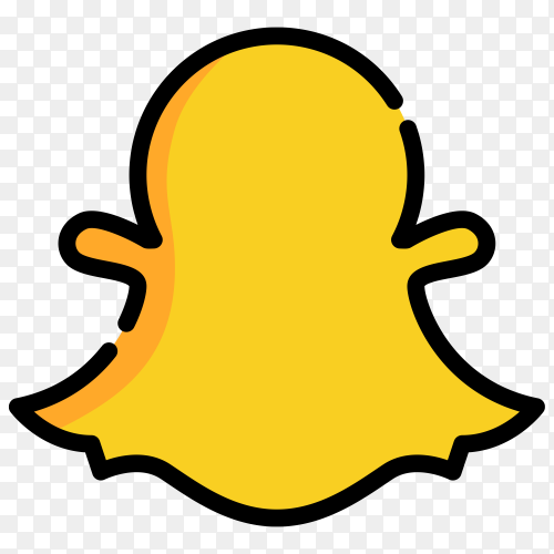 Yellow Snapchat icon on transparent background PNG