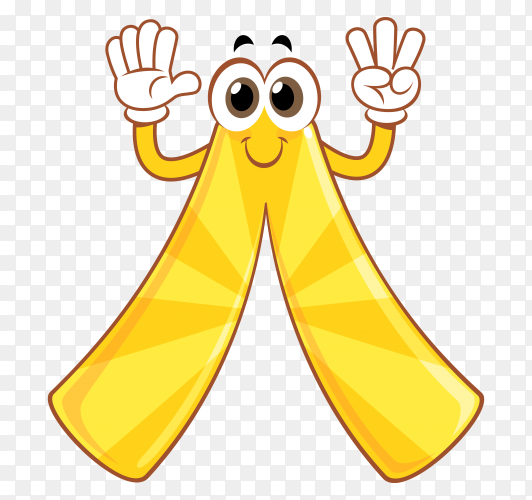 Yellow cartoon number eight on transparent background PNG