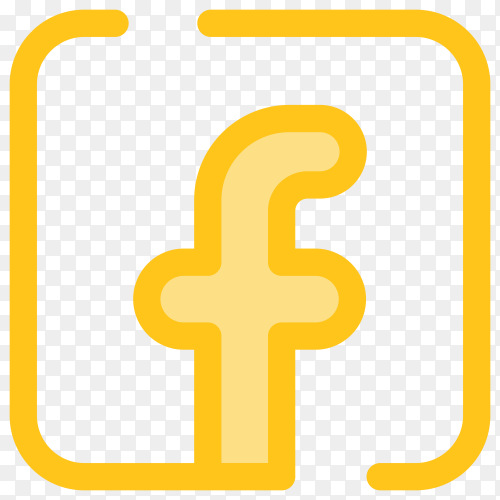 Yellow Facebook logo design on transparent background PNG