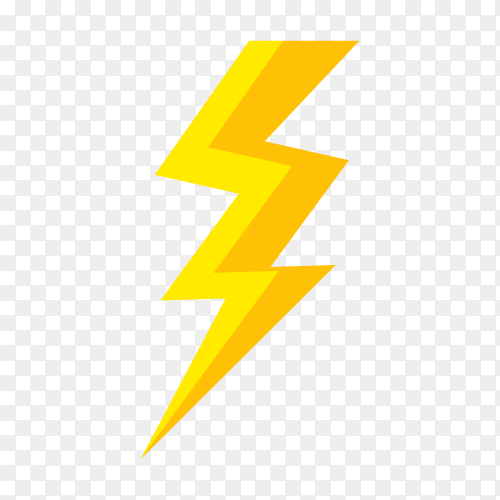 Yellow lightning bolt illustration on transparent background PNG