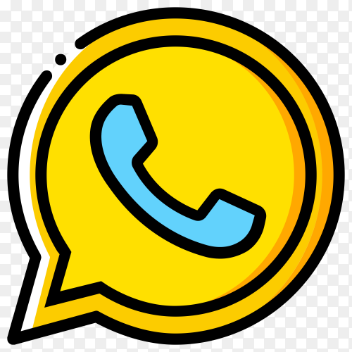 Yellow whatsapp icon on transparent background PNG