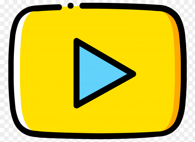 Yellow YouTube player icon on transparent background PNG