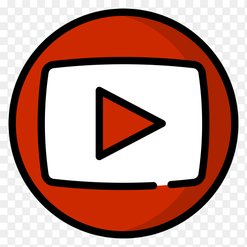 YouTube icon isolated on transparent background PNG