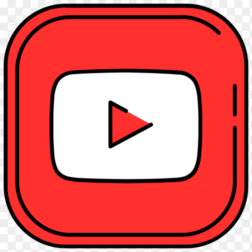 YouTube logo design on transparent background PNG