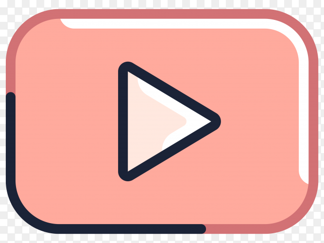 YouTube player icon premium vector PNG