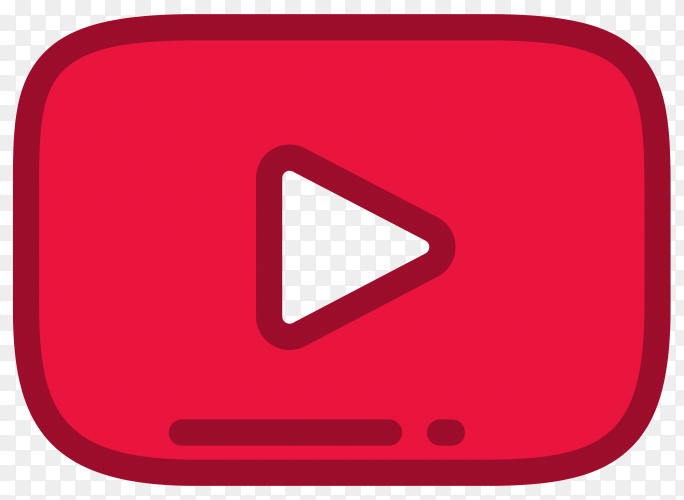 YouTube player icon on transparent PNG