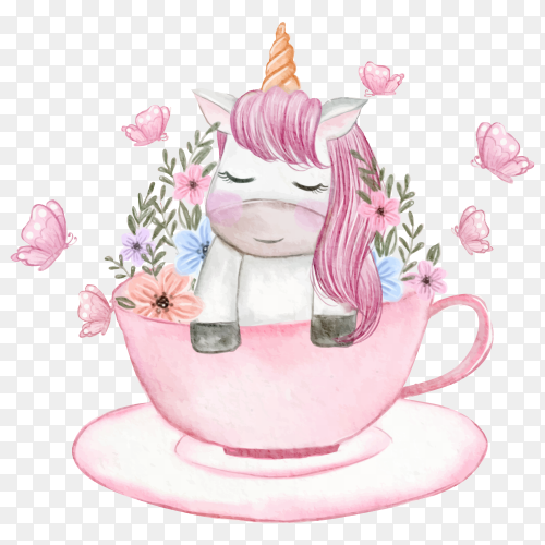 Baby unicorn in cup with flowers on transparent background PNG