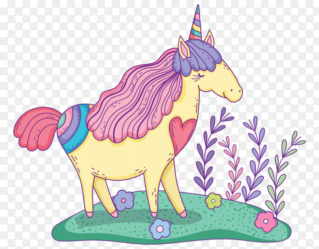Beautiful little unicorn in the landscape on transparent background PNG