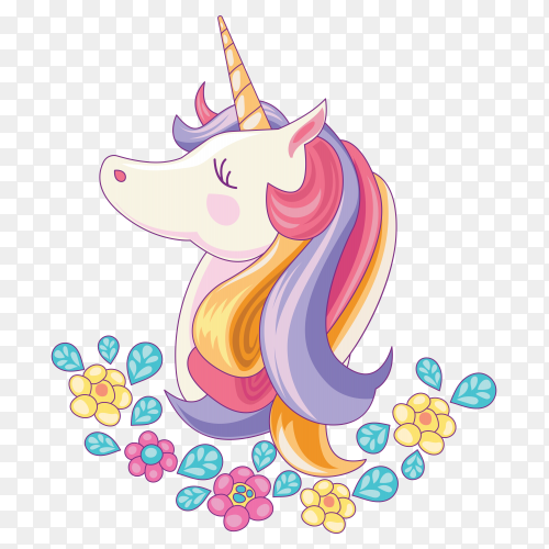 Beautiful unicorn with hand drawn style on transparent background PNG
