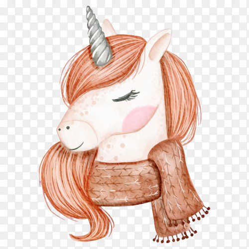 Beautiful unicorn with scarf watercolor illustration on transparent background PNG