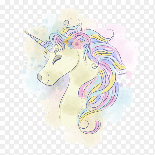 Beautiful watercolor unicorn on transparent background PNG