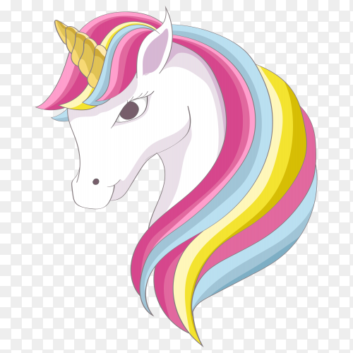 Cute cartoon unicorn illustration on transparent background PNG