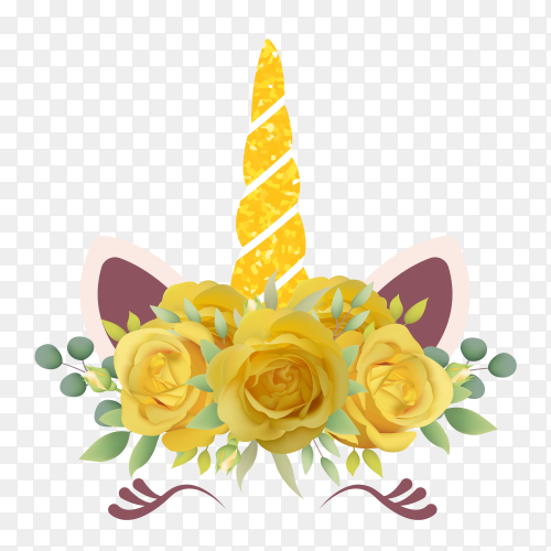Cute unicorn design with flowers on transparent background PNG