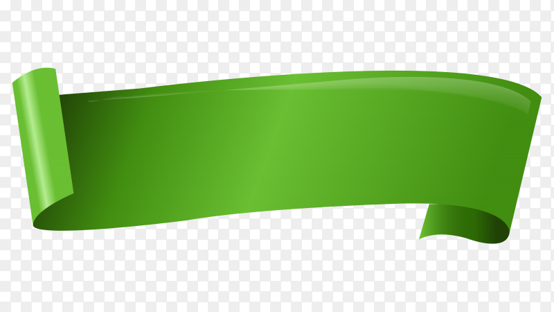 Green curved paper banner on transparent background PNG