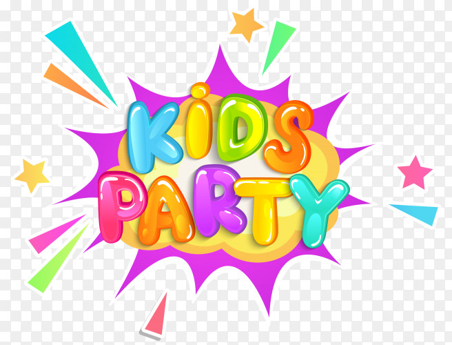 Kids party banner with rainbow on transparent background PNG