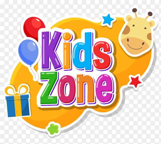 Kids zone label text sticker childish badge on transparent background PNG
