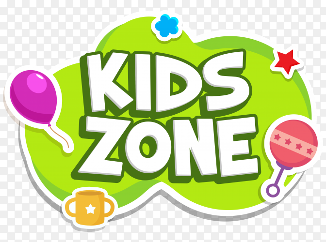 Kids zone label text sticker childish badge premium vector PNG